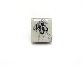 Boxer Dog Illustration Tile brooch.