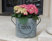 Laurel Wreath Vintage Galvanized Bucket with Personalized Address Number
