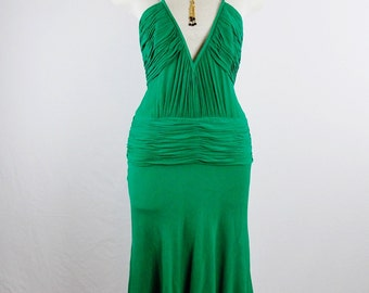 Vintage GIANNI VERSACE COUTURE Emerald Green Plunging Silk Crepe Ruched Cocktail Dress Size 42