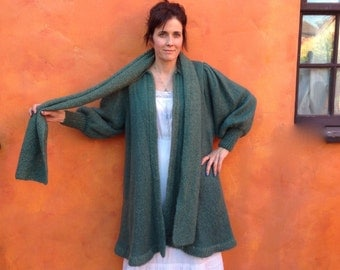VTG long wool Cardigan Sweater with scarf green gold Sz M L