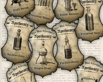 Mad Scientist Apothecary Labels printable decor party display grunge crafting instant download digital collage sheet - 1234VEDEAPHA