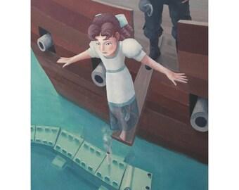 Wendy Walks the Plank. print of an original acrylic painting
