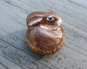 Miniature brown bunny, miniature rabbit, paper clay sculpture, animal totem, rabbit totem No68