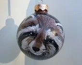 hand painted raccoon ornament, Christmas ornament 202