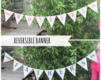 Mothers Day burlap banner, Mothers Day decoration - REVERSIBLE Mothers Day - Fathers Day Banner