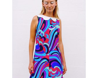 Psychedelic Mod Girl Mini Dress with Peter Pan Collar