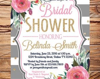 Roses Bridal Shower Invitation, gray stripes, gold, glitter confetti, pink peach roses wedding, roses bridal shower invitation, 5349