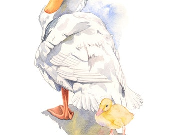 Duck and duckling print of watercolor painting DD2316, duck watercolor painting, nursery wall art, print for nursery, A4 size print