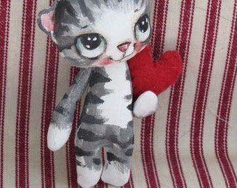 Blythe toy cat , Cat cloth doll , Hand painted cat Kitten , Gift for cat lover ,Gift for her , decorative cat , Kitten with heart ,
