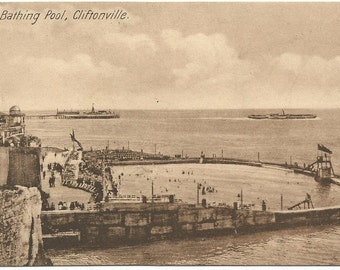 The Bathing Pool Cliftonville United Kingdom UK in Sienna Tones Sepia Vintage Postcard