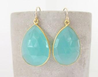 Aqua Chalcedony Gold Earrings - Gemstone Earrings - Drop Earrings - Gold Earrings - Chalcedony Jewelry