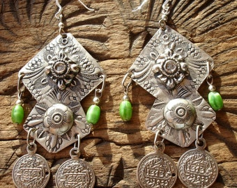 Moroccan green large hand engraved bead coin earrings with silver hooks