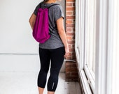 Drawstring backpack sports nylon bag by Maltby in magenta pink