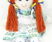 fabric doll, handmade rag doll, cloth doll, hand made cloth doll, homemade doll, little girl toy, cloth toy toddler, child friendly  NF258