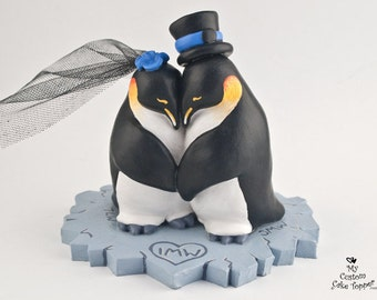 Penguin Love Custom Wedding Cake Topper