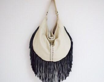 Leather Fringe Bag (beige and black)