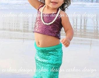 mermaid top party mermaid halloween costume shirt halter sequin mermaid crop top tank top shirt birthday costume baby toddler girl