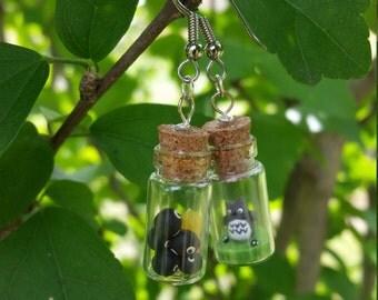 Totoro and Friends In A Bottle - Dangle Earrings - My Neighbor Totoro