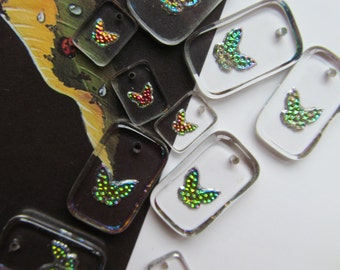 Tiny Glass Crystal Butterfly  Drops With Holes