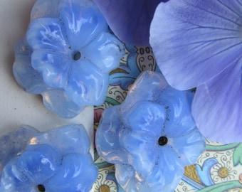Rare Vintage Large Lumencent Blue Opal  Glass Flower