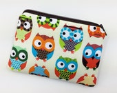 Owls Coin Purse, Change Purse, Small Zipper Pouch, Card Wallet, Gift idea, Notions Pouch, Padded