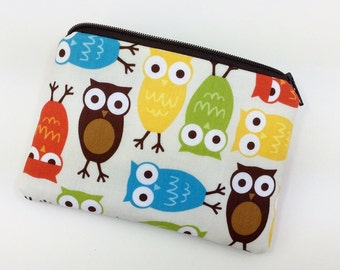 Owls Coin Purse, Small Zipper Pouch, Card Wallet, Gift ideas, Padded Pouch, Change Purse, Gift for her
