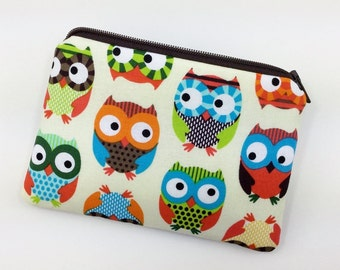 Owls Coin Purse, Change Purse, Small Zipper Pouch, Card Wallet, Gift idea, Notions Pouch, Padded Pouch