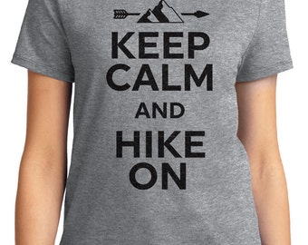 Keep Calm And Hike On Camping Unisex & Women's T-shirt Short Sleeve 100% Cotton S-2XL Great Gift (T-CA-20)