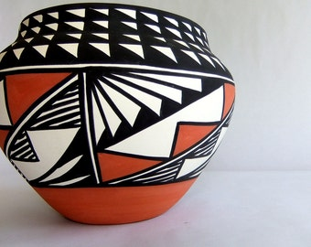 Large, Hand Coiled, Hand Painted Acoma Pueblo Olla Pottery Pot - Dora Antonio, Polychrome, Black White Terra Cotta, New Mexico, Native