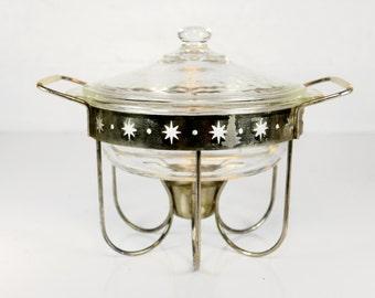 chafing dish, casserole dish, starburst, mid century modern, danish modern, Fire King, 2 qt, covered casserole, glass, divided dish
