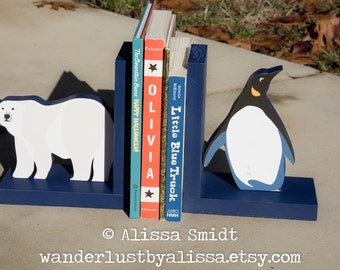 Penguin and Polar Bear Bookends, Custom Designed Wooden Arctic Animal Bookends - Custom Created to Coordinate with Your Decor (navy)
