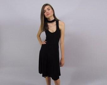 Vintage 90s Cut Out Dress, Minimalist Black Dress, Black Jersey Dress, Little Black Dress Δ size: md / lg