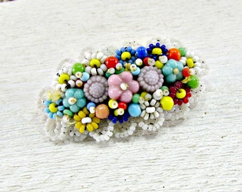 Vintage Seed Bead Brooch Pin, MIRIAM HASKELL Style, Colorful Flower Beads, Beadwork Brooch, Floral Brooch, 1950s / 1960s Vintage Jewelry