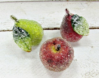 Vintage Sugared Fruit, Small Decorative Artificial Fake Fruit, Home Kitchen Table Decor, 1960s Christmas Holiday Decor Decoration
