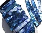 "5/8"" Shades of Blue Tie-Dye Fold Over Elastic"