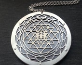 Sri Yantra Flower of Life Pendant - handcut sterling silver and oxidise copper - Handcrafted Sacred Geometry Jewellery