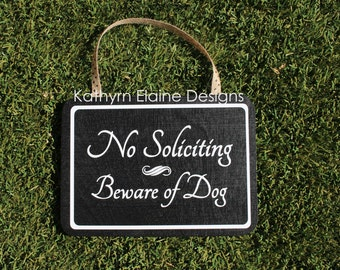 No Soliciting Beware of Dog Rectangle Sign