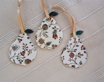 Ceramic hanging ornament / gift tag -  Pear with Tudor pattern (Listing for ONE only)