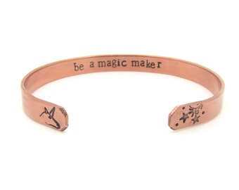 unicorn bracelet // motivational jewelry // hand stamped copper cuff // secret message bracelet / magic - believe in yourself - gift for her