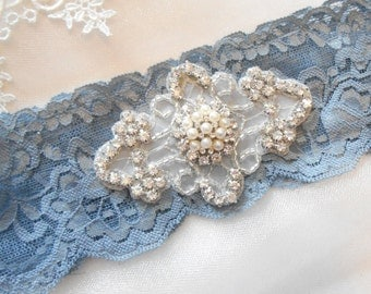 Wedding Garter Stretch Lace Denim Blue Single Beautiful Pearl and Rhinestone Piece Wedding Bridal Garter Fun and Classic