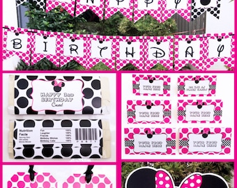 Minnie Mouse Party Invitation & Decorations - full Printable Package - INSTANT DOWNLOAD with EDITABLE text - you personalize at home