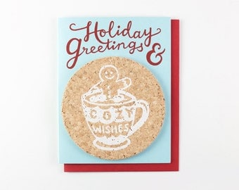 Holiday Greetings & Cozy Wishes - coaster card