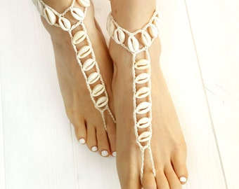 Seashell Jewelry- Beach Wedding Barefoot Sandals- Boho Barefoot Sandals- Bridesmaid Gift- Seashell Foot Jewelry- Bridesmaid Jewelry- Anklet