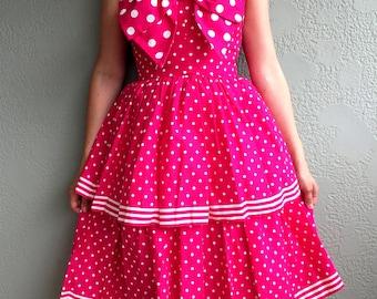 Vintage Hot Pink Victor Costa Polka Dot Retro Pin Up Dress