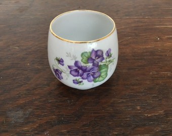 Vintage Violets Porcelain Sugar Bowl-Gold gilt rim-Schumann Arzberg German porcelain small bowl