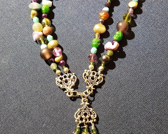 Peridot and amethyst necklace
