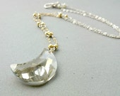 Silver Swarovski Necklace - Swarovski Crystal Moon Necklace Sterling Silver and Gold wire wrapped simple necklace