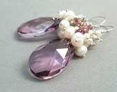 Pink Swarovski Earrings - Briolette Dangle Earrings Cluster Earrings pink and Grey Sterling Silver Earrings