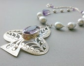 Statement Chunky Sterling Silver and Freshwater Pearl Necklace - Grey Pearl and Sterling Silver  and Purple