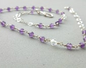 Purple Amethyst  Necklace - Sterling Silver Chain Necklace Swarovski Necklace Purple and Silver